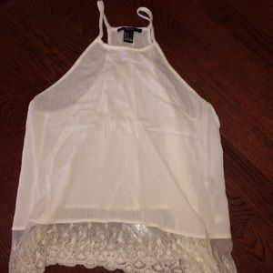 White tank top blouse with lace trim